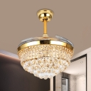 Conic Flush Mount Ceiling Fan Simplicity Crystal Orb 19
