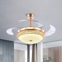 Opal Glass Bowl Fan Light Kit Modern LED Semi Flush Ceiling Fixture in Gold with 4 Blades, 19