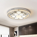 Stainless-Steel Floral Flush Ceiling Light Modern K9 Crystal LED Lighting Fixture for Bedroom