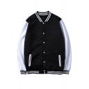 Color Block Contrast Striped Printed Button Down Long Sleeve Baseball Jacket