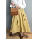 Dressy Skirt Solid Color Zipper Fly Button Pocket Pleated High Rise Maxi A-Line Skirt for Women