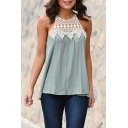 Pretty Womens Crochet Sheer Patchwork Sleeveless Crew Neck Tied Back Loose Tank Top in Light Blue