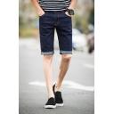 Summer Basic Simple Plain Thin Stretch Guys Rolled Cuff Slim Fit Denim Shorts