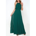 Elegant Halter Sleeveless Plain Pleated Maxi A-Line Dress