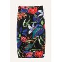Womens 3D Pencil Skirt Chic Floral Leaf Painting High Waist Midi Pencil Skirt