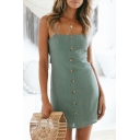 Popular Womens Solid Color Bow Tie Back Backless Single Breasted Spaghetti Straps Sleeveless Mini Sheath Slip Dress