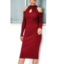 Trendy Solid Color Keyhole Front Cold Shoulder Long Sleeve Midi Bodycon Sweater Dress for Women