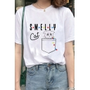 Retro Womens Tee Top Chest Pocket Dot Letter Smelly Cat Pattern Round Neck Regular Fit Short Sleeve Tee Top
