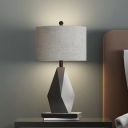 Drum Night Table Light Simplicity Fabric 1 Head Bedside Desk Lighting with Geometric Base in Grey