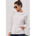 Simple Plain Long Sleeve Fluffy Teddy Zip Up Hoodie With Pockets