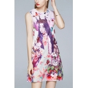 Pink Stylish Character Floral Print Round Neck Sleeveless Mini Swing Tank Dress for Women