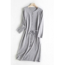 Casual Solid Color Knit Long Sleeve Crew Neck Button Up Bow Tied Waist Mid A-line Dress for Women
