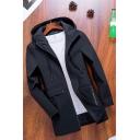 Mens Trench Coat Stylish Flap Pockets Drawstring Zipper down Long Sleeve Long Regular Fit Hooded Trench Coat