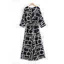 Novelty Womens Jumpsuits Abstract Geometric Pattern Tie Detail Wide Leg 3/4 Sleeve Crew Neck Loose Fitted Long Jumpsuits