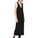 Womens Jumpsuits Creative Solid Color Rib Knitted Wide Leg Backless Sleeveless V-Neck Loose Fitted Capri Jumpsuits