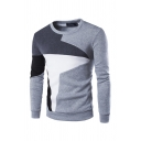 Retro Mens Pullover Sweatshirt Contrasted Paneled Elastic Cuffs Long Sleeve Slim Fitted Crew Neck Pullover Sweatshirt