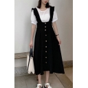 Fashion Plain Single Breasted Pleated Ruched Stringy Selvedge Straps Sleeveless Midi A-Line Overall Dress for Women