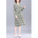 Popular Womens Plaid Printed Long Sleeve V-neck Button Up Flap Pockets Drawstring Waist Mid A-line Shirt Dress