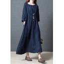Basic Womens Linen and Cotton Plain Long Sleeve Round Neck Long Oversize Dress