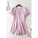 Womens Rompers Fashionable Solid Color Wide Leg Zipper Back V Neck Regular Fitted Short Sleeve Rompers