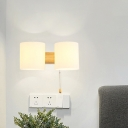 Cylinder Bedside Pull Chain Wall Lamp Acrylic 2-Light Asian Wall Lighting in Beige