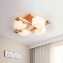 Wooden Traverse Semi Mount Lighting Asia 4/5-Light Ceiling Flush Light in Beige with Cube Milk Glass Shade