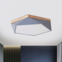 Pentagon Foyer Flush Mount Lamp Metal LED Macaron Ceiling Light in Grey with Wood Canopy, 16.5