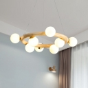 Wood Ring Pendant Chandelier Modern Style 8/10 Bulbs Hanging Lamp in Beige with Orb White Glass Shade