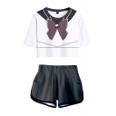 Pretty Ladies Cosplay Costume 3D Color Block Faux Bow Tie Short Sleeve Crew Neck Regular Fit Crop T-Shirt & Elastic Waist Pockets Shorts Set