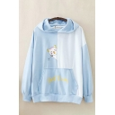 Pretty Womens Letter Bottom Cat Graphic Long Sleeve Color Block Pouch Pocket Loose Hoodie
