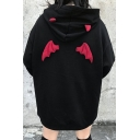 Cool Girls Sherpa Liner Wings Patched Letter Print Long Sleeve Loose Hoodie in Black