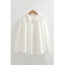 White Lovely Plain Broderie Single Breasted Pleated Peter Pan Collar Long Sleeve Relaxed Fit Shirt for Women