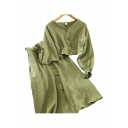 Stylish Womens Solid Color Long Sleeve V-neck Fabric Button Up Relaxed Cropped Top & Mid A-line Skirt Set