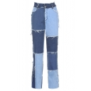 Dainty Womens Jeans Color Block Frayed Seam Full Length Pockets High-rise Straight-leg Zip Placket Jeans