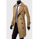 Mens Trench Coat Trendy Solid Color Wool-Tweed Wide Lapel Collar Double-Breasted Long Sleeve Slim Fitted Trench Coat