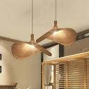 Beige Straw Hat Shape Hanging Lamp Kit Asian 1-Bulb Rattan Ceiling Pendant Light, 16