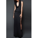 Halloween Costume Solid Color Sleeveless Hooded Cowl Neck High Slit Maxi Shift Dress for Ladies