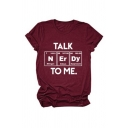 Stylish Letter Talk To Me Print Rolled Short Sleeve Crew Neck Slim Fit T Shirt
