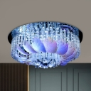 6/9 Heads Ceiling Mounted Fixture Modern Flower Shape Clear Crystal Flush Lighting, 19.5