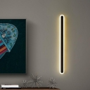 Metallic Linear Surface Wall Sconce Minimalist Black/White LED Wall Mounted Lamp in Warm/White Light, 16