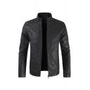 Mens Jacket Stylish Zipper Vents Mock Neck Long Sleeve Slim Fitted Leather Jacket