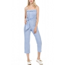 Dainty Jumpsuits Striped Print Pleated Detail Button Placket Sleeveless Tie Strap Straight-leg Cropped Jumpsuits for Women