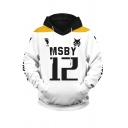 Letter Msby 12 Graphic Contrasted Long Sleeve Drawstring Pouch Pocket Relaxed Fit Street Hoodie in White