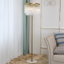 Gold Single Stand Floor Light Modernist Crystal Tube 2 Layer Standing Lamp in Gold