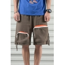 Street Mens Patched Pockets Mid Waist Knee Length Relaxed Fit Shorts