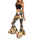 Womens Trendy Trousers Camouflage Animal Leopard Pattern Flared Full Length High-rise Elastic Waist Ruffled Trousers