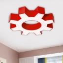 Gear Flush Mount Lighting Fixture Minimalist Acrylic LED Doorway Ceiling Flush in Red/Blue/Green