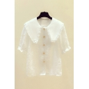 Pretty Embroidered Short Sleeve Peter Pan Collar Button down Plain Loose Fit Shirt Top