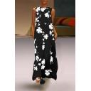 Women's Hot Fashion Floral Print Round Neck Sleeveless Maxi Dress