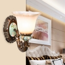 Milk Glass Carved Wall Lighting Ideas Rustic 1/2 Bulbs Bedroom Wall Mounted Lamp in Brown